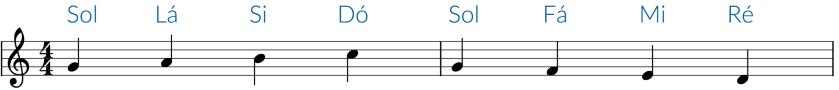 Exemplo na clave de Sol
